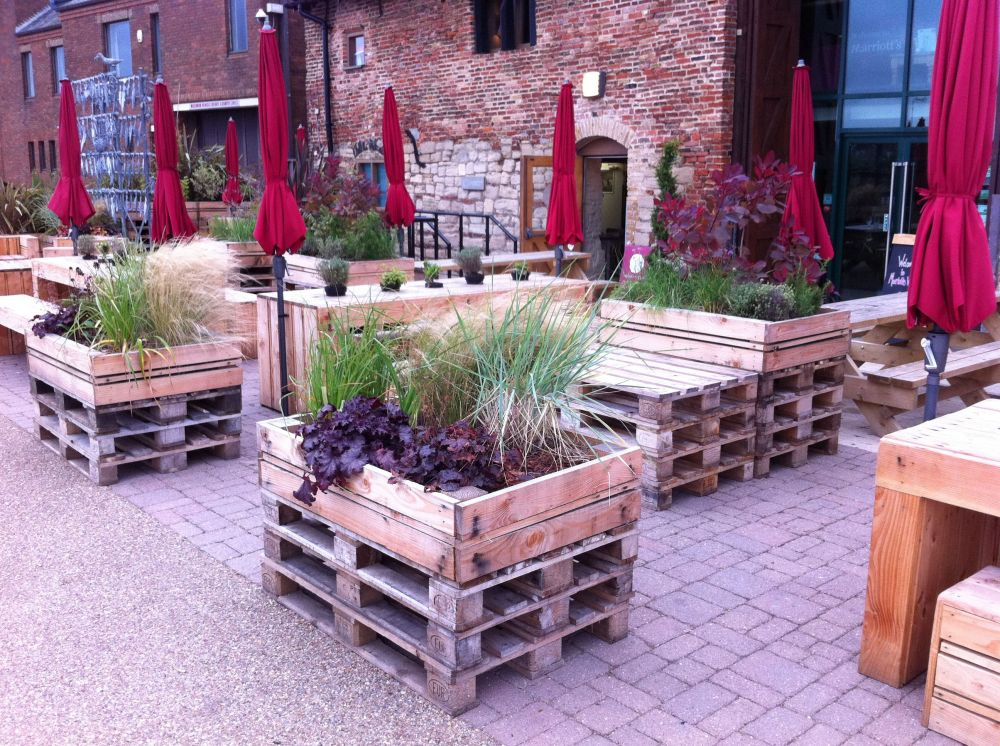 Garden Furniture Kings Lynn tables & chairs made out of pallets, at the quay side in kings