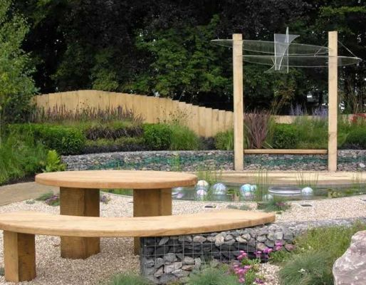 RHS Tatton Park's show gardens with railway sleepers