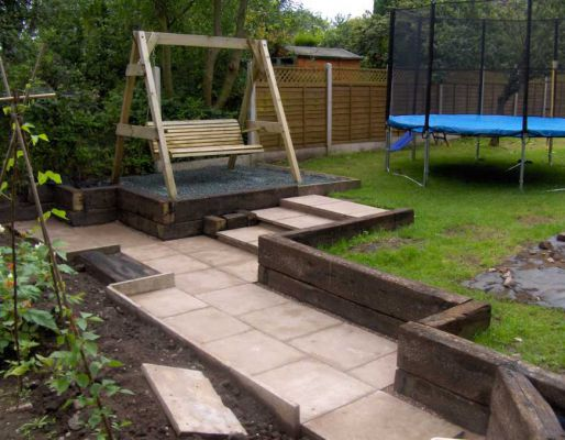 The Clarkes's landscaping with railway sleepers