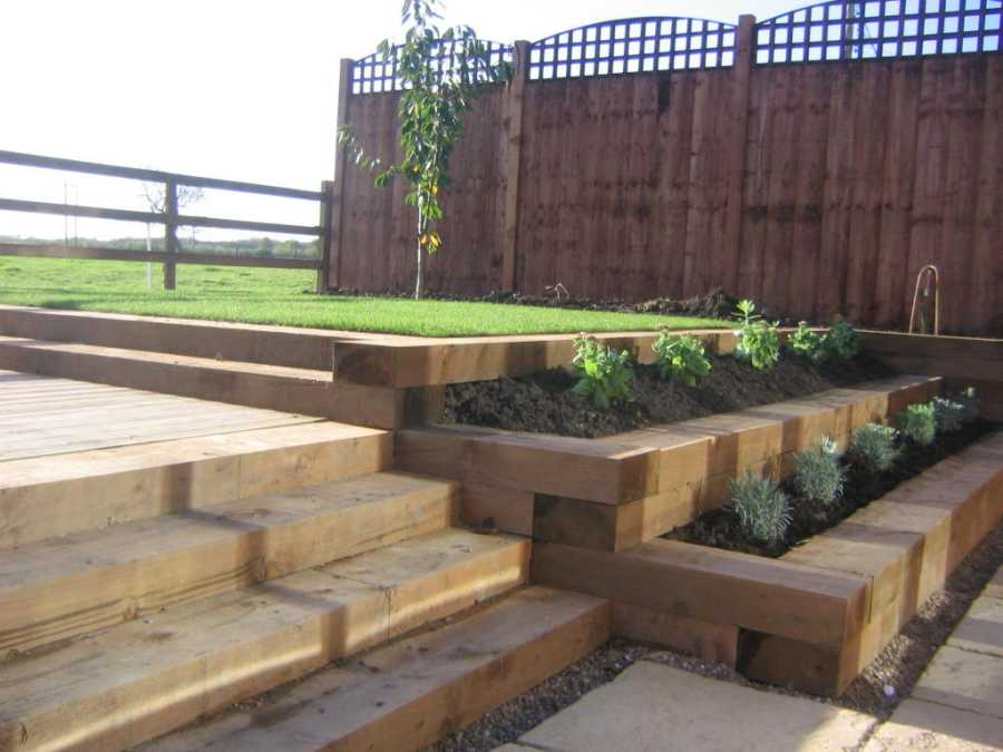 Railway sleepers for How to landscape a garden