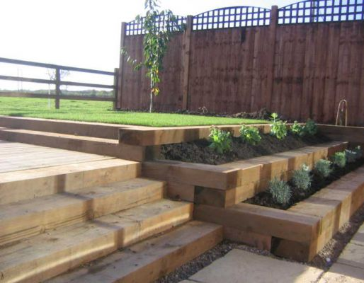 Raised bed projects with railway sleepers for Garden designs with railway sleepers