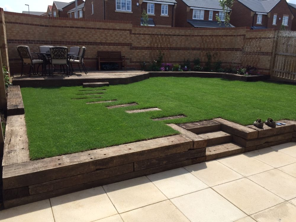 Railway sleeper steps beds and patio for Garden designs using sleepers