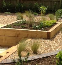 Tom's beautifully designed railway sleeper garden