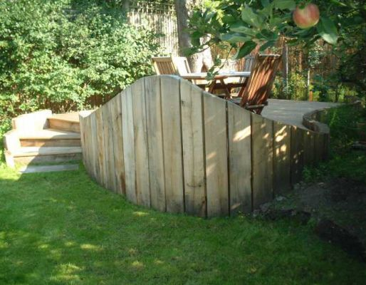 Tony & Maggie's railway sleeper wall