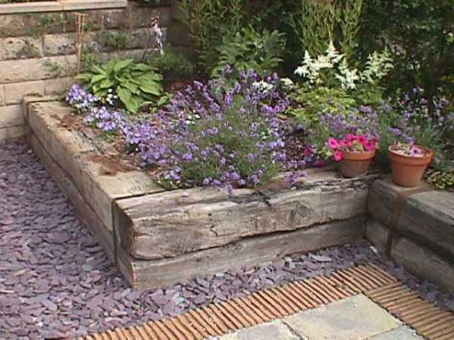 Railway sleeper raised bed for Garden pond design using sleepers
