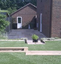 Phil Parson's terrace with new railway sleepers