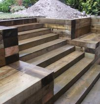 WBM steps, walls & patio with sleepers