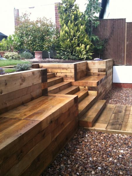 Steps Walls Amp Patio With New Railway Sleepers
