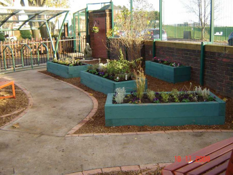 Railway sleepers for Sensory garden designs
