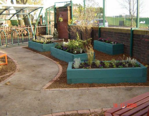 Wisewood primary school's sensory garden with sleepers