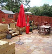 Dougie & Jackie's Patio from railway sleepers