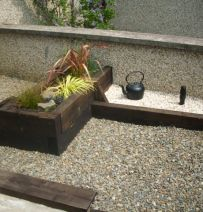 Waterford raised bed & edging with new pine railway sleepers