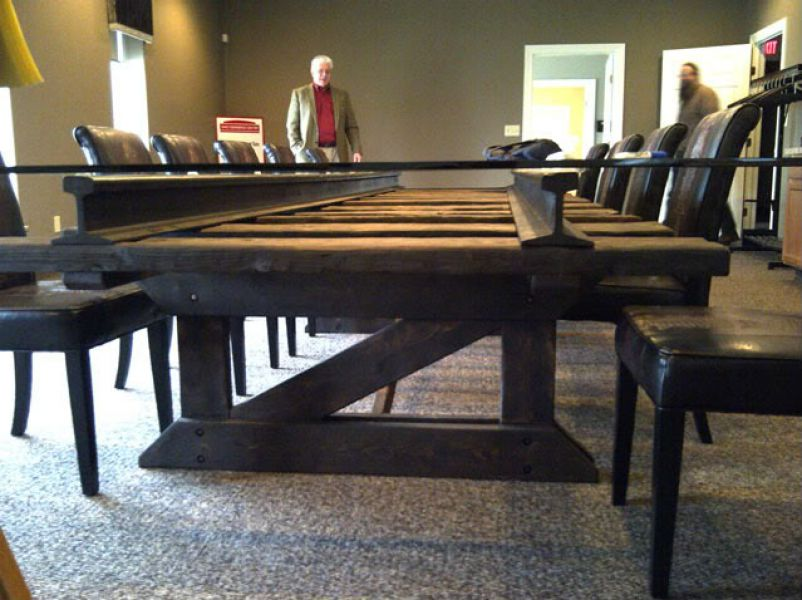 Table Made From Railway Sleepers Rails And Glass