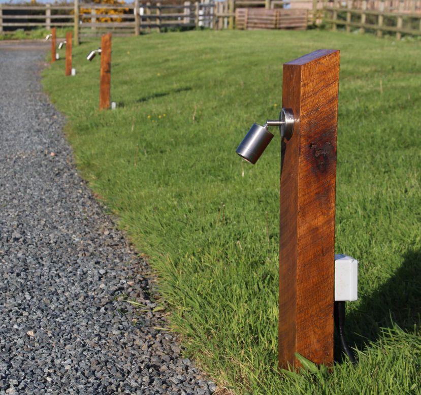Cornwall new oak railway sleeper lights for How to install driveway lights