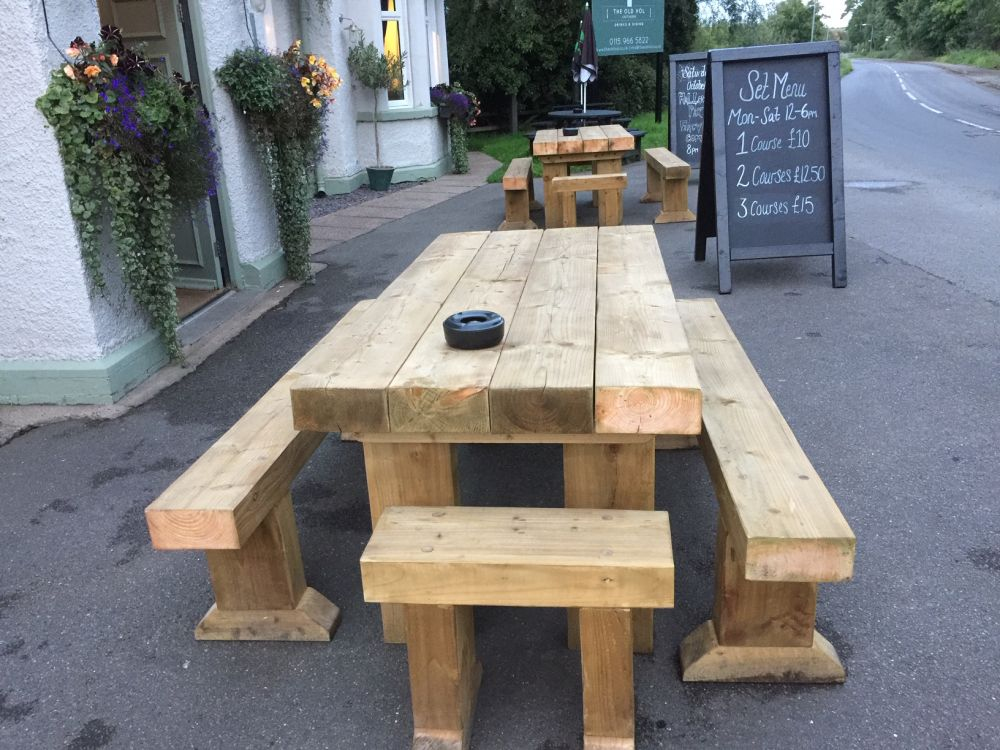 The Old Volunteer pub's railway sleeper tables