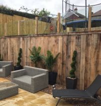 Beaumont Developments massive new oak railway sleeper wall