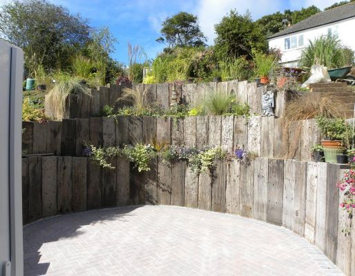 Mike Boreham's amazing terracing with railway sleepers