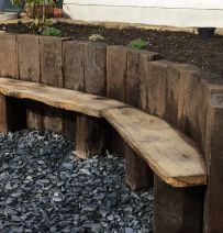 John's Azobe used railway sleeper wall & seat