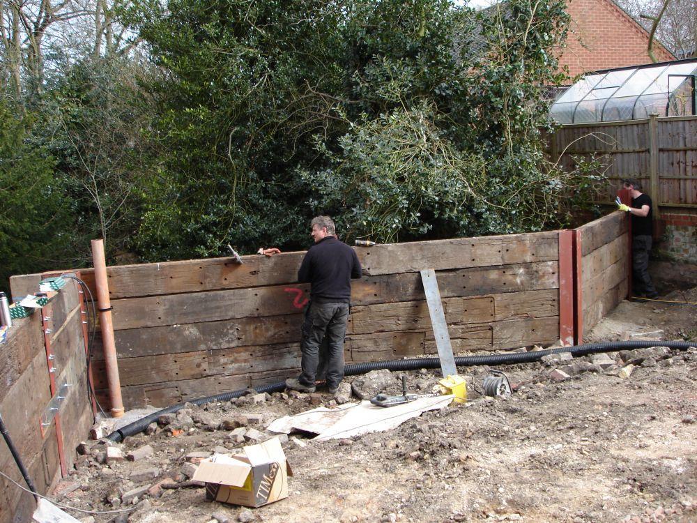 Railway Sleepers Garden Retaining Walls