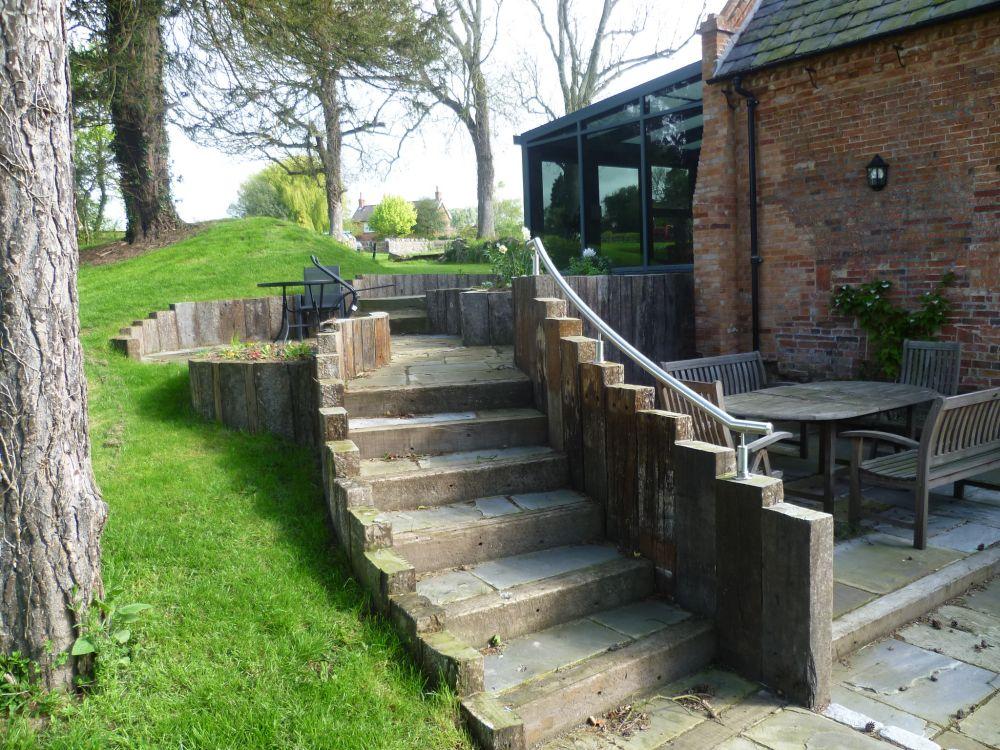 Kingfisher Walls Steps Amp Patio With Used Railway Sleepers