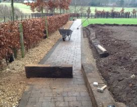 PATHS, BRIDGES & ROADS using railway sleepers
